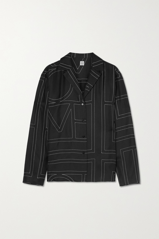 Totême Sanvile embroidered silk-satin shirt