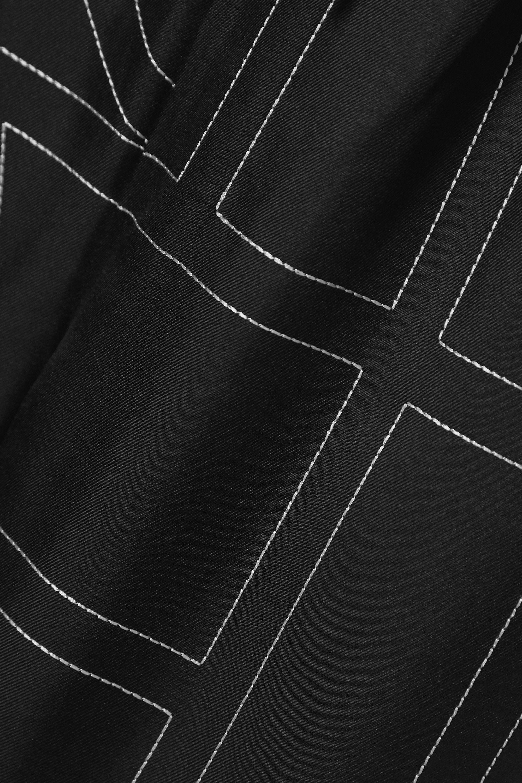 Totême Vizelle embroidered silk-satin wide-leg pants