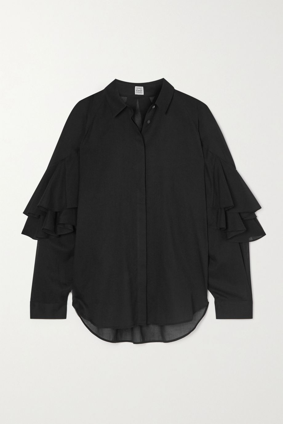 Totême Locarno ruffled cotton shirt