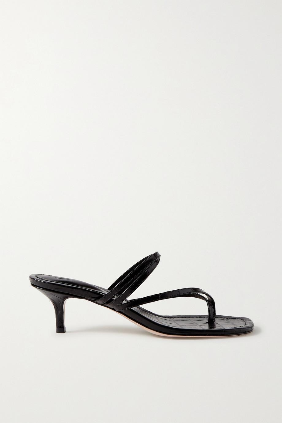 Porte & Paire 仿鳄鱼纹皮革凉鞋