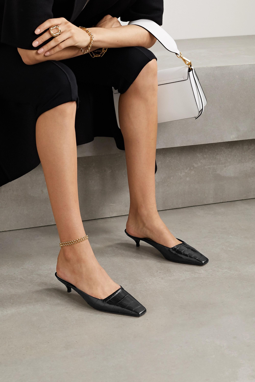 Porte & Paire Croc-effect leather mules