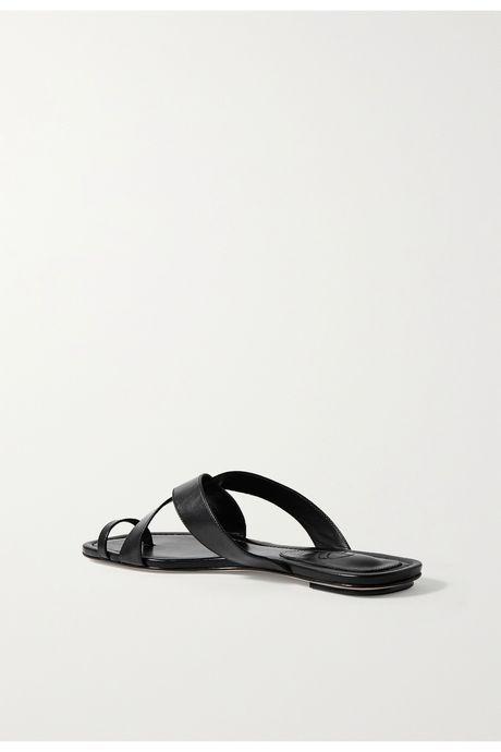 Black Leather sandals | Porte & Paire pBBdJY