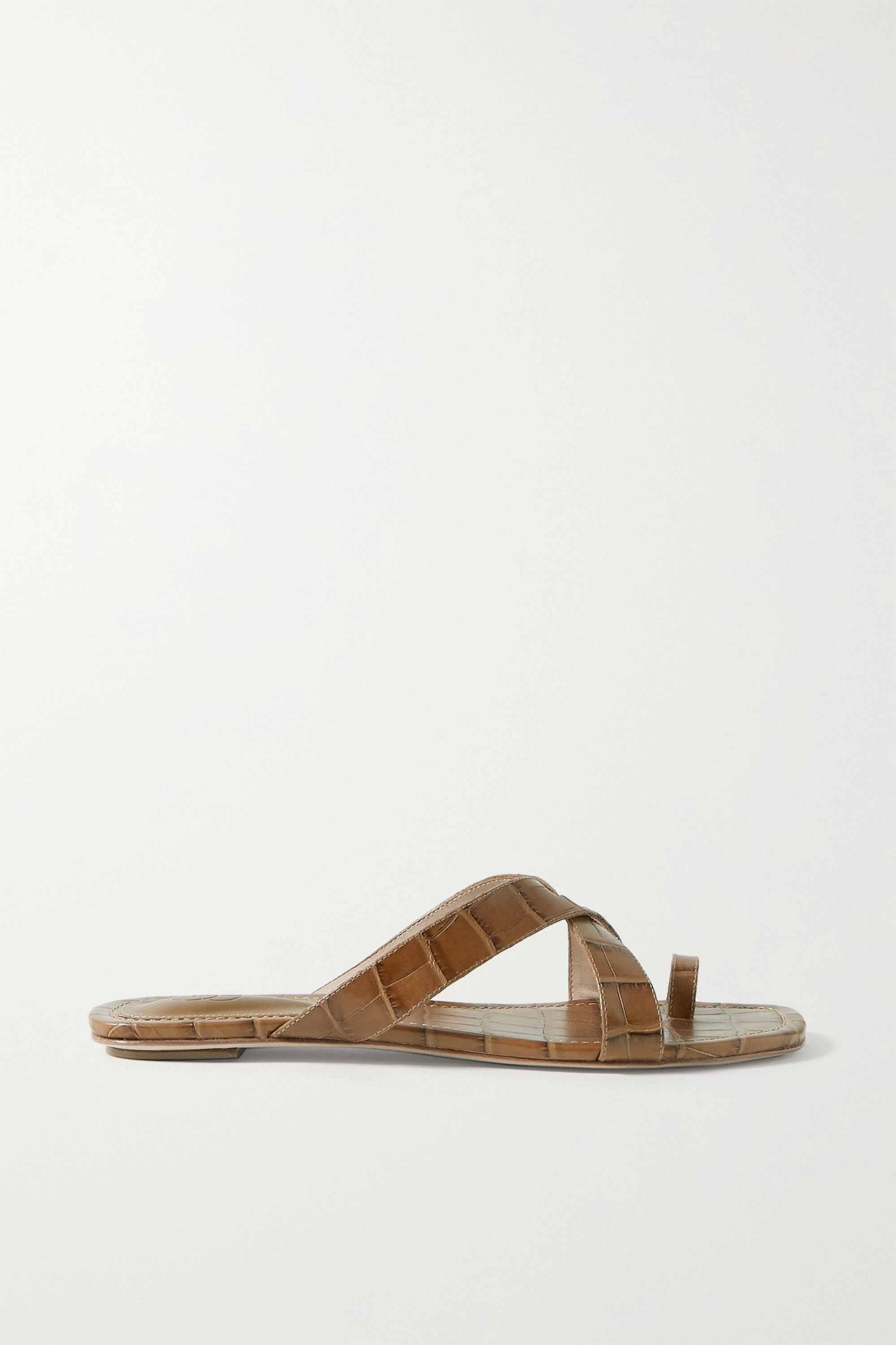 Porte & Paire Croc-effect leather sandals