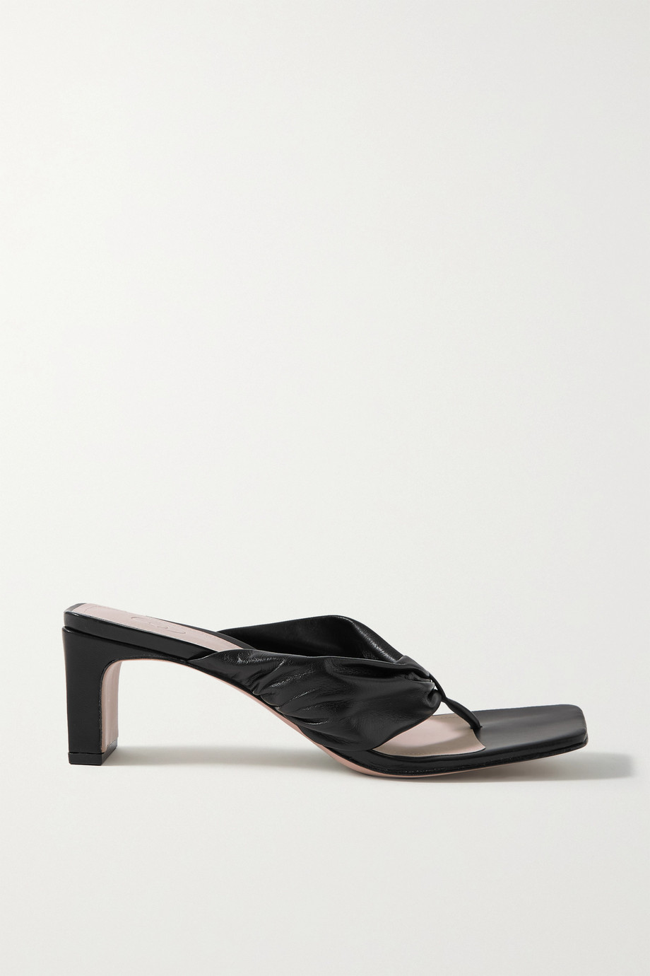 Porte & Paire Gathered leather sandals