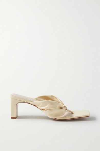 Porte & Paire - Gathered Leather Sandals - Cream