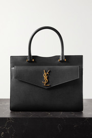 SAINT LAURENT Uptown East West medium textured-leather tote