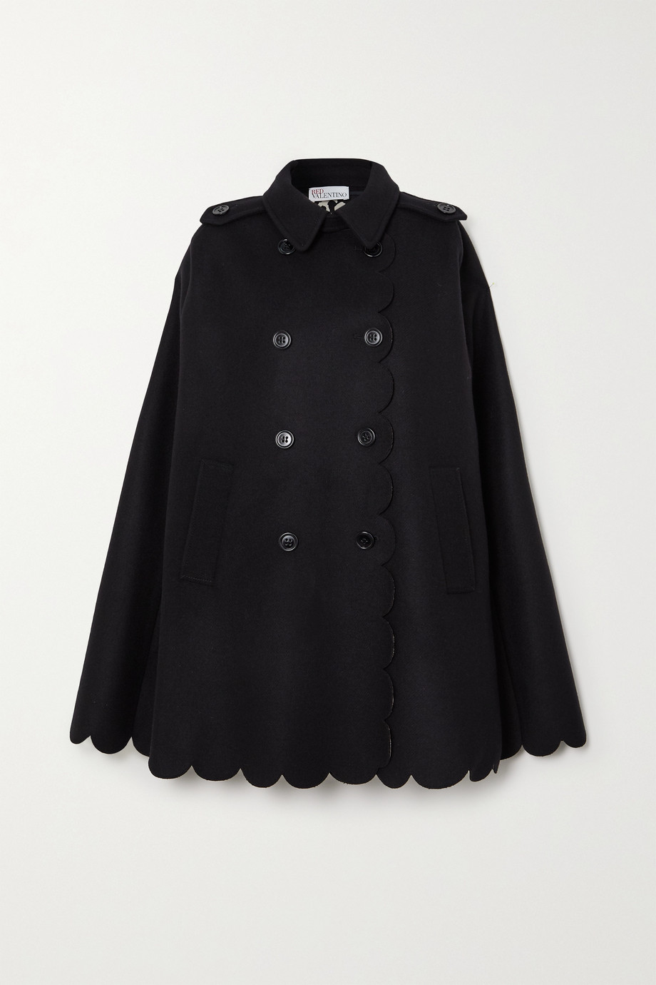 REDValentino Double-breasted scalloped wool-blend cape