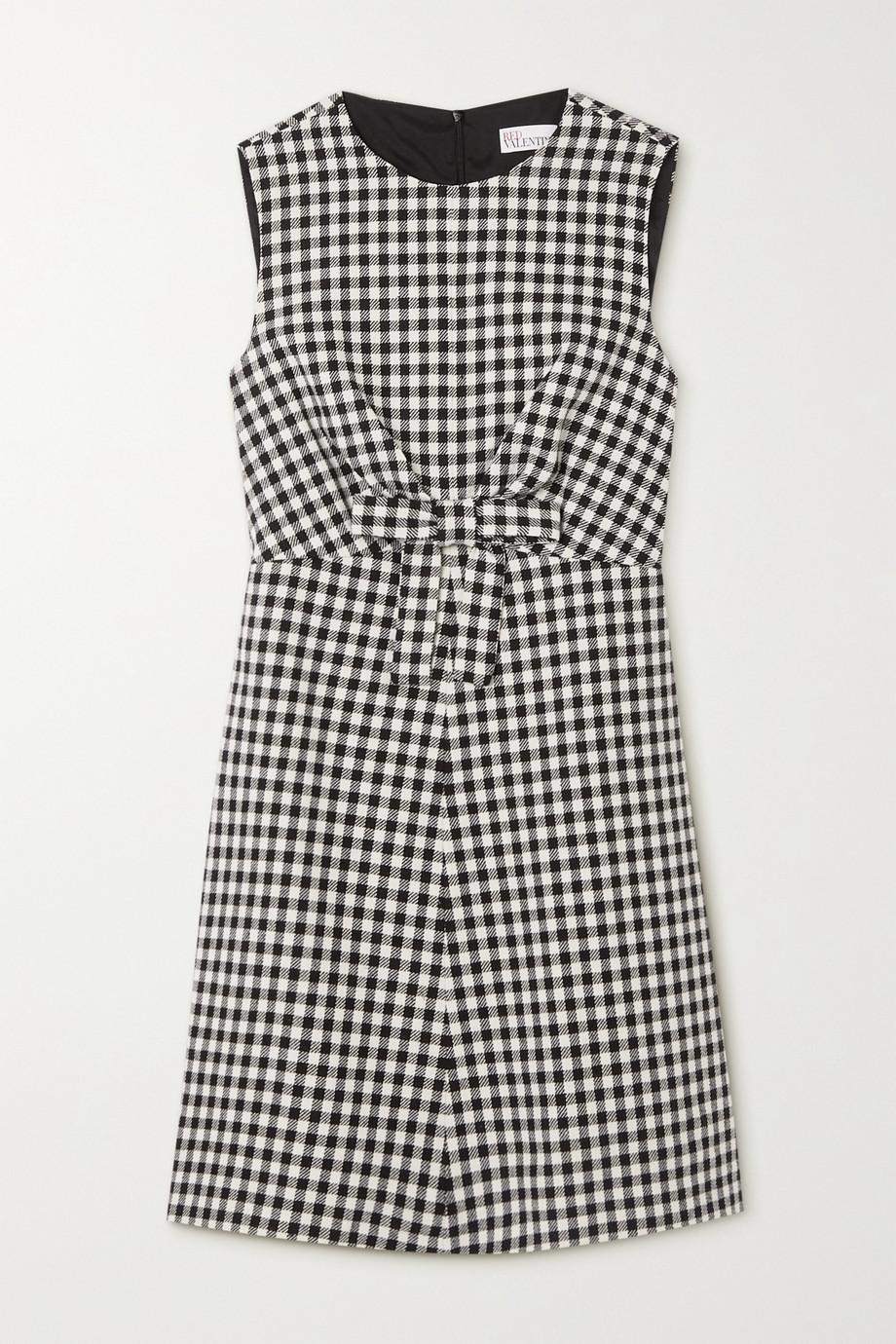 REDValentino Minikleid aus Tweed mit Gingham-Karo und Schleife