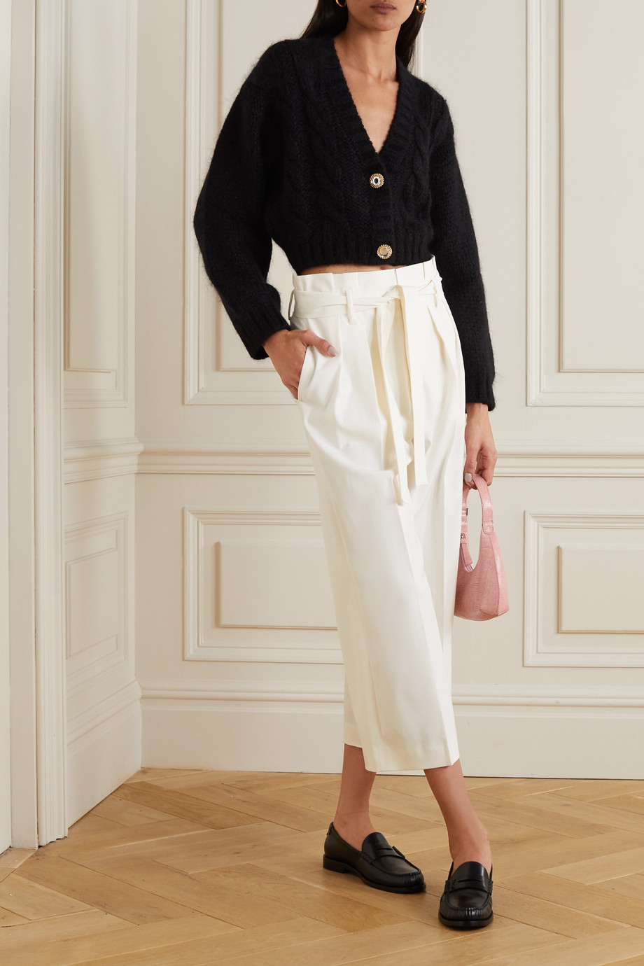 REDValentino Cropped belted twill wide-leg pants