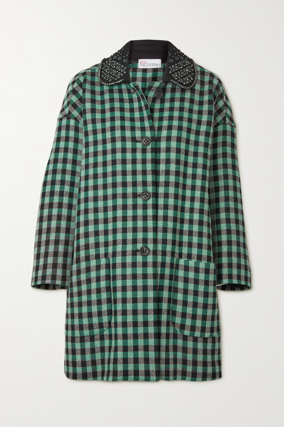 REDValentino Crystal-embellished checked wool-blend tweed coat
