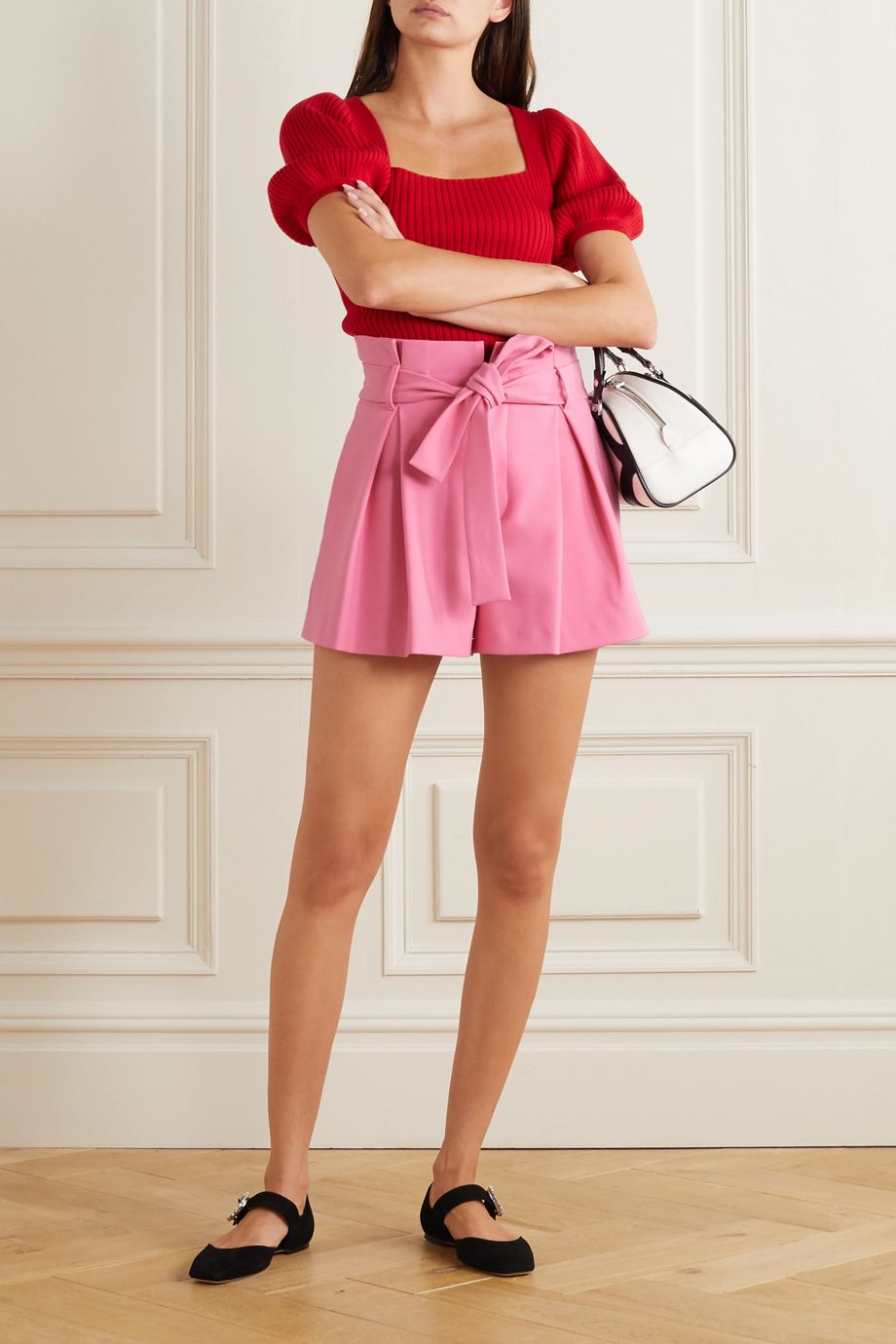 REDValentino Belted pleated crepe shorts