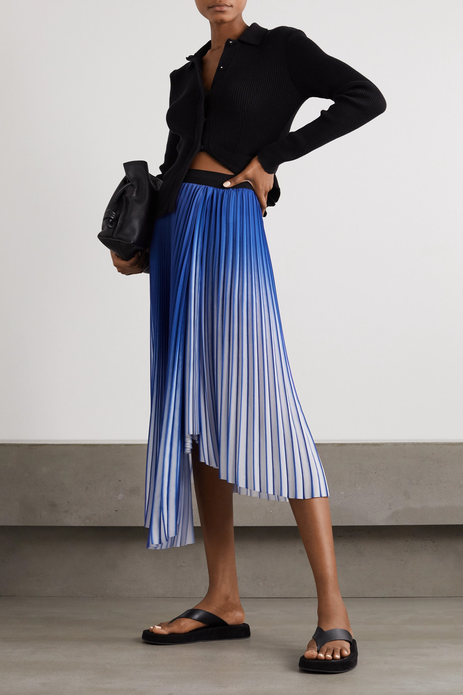 By Malene Birger Piza asymmetric pleated crepe de chine midi skirt