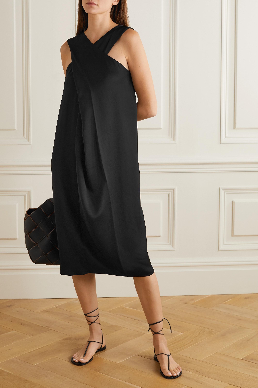 Black Aluta Draped Wrap-effect Crepe Midi Dress | By Malene Birger