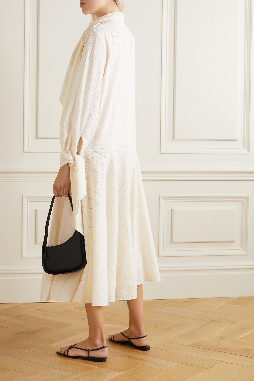 By Malene Birger Bellida tie-detailed pointelle-trimmed cotton-blend jacquard midi dress