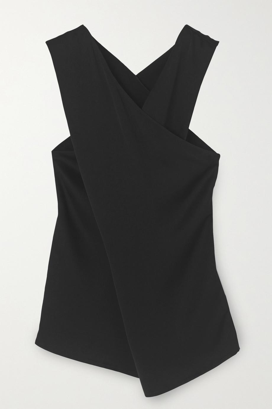 By Malene Birger Bosea draped wrap-effect crepe blouse