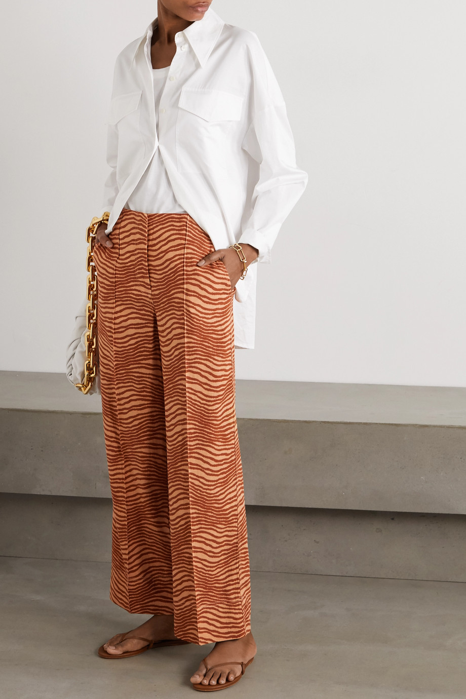 By Malene Birger Andinia printed crepe wide-leg pants