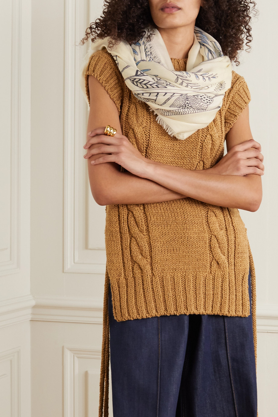Loro Piana The Ramble frayed printed cashmere and silk-blend scarf