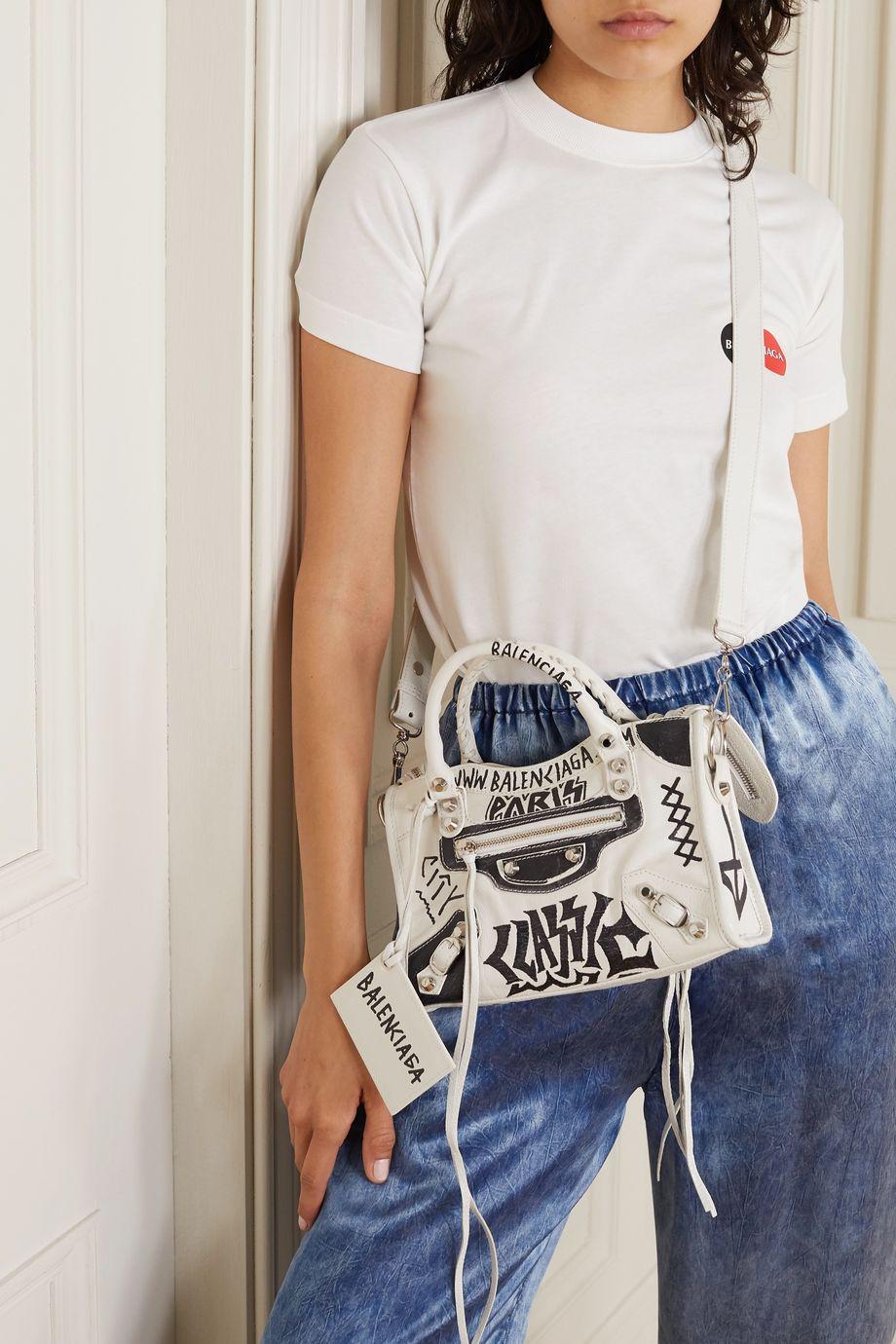 Balenciaga Classic City 印花纹理皮革迷你手提包