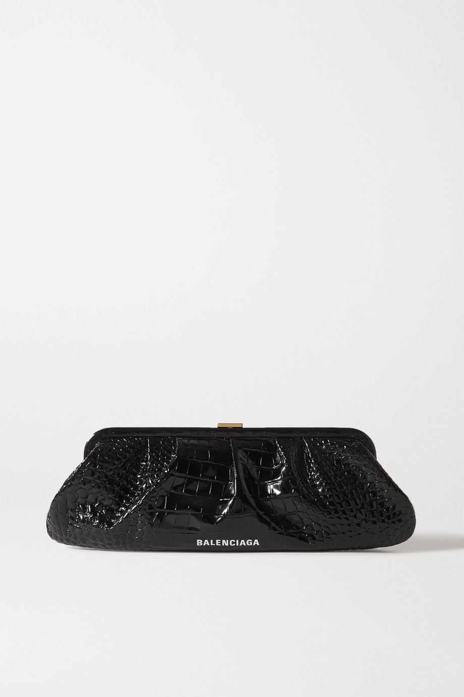 Balenciaga Cloud XL printed croc-effect leather clutch