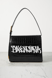 Balenciaga Ghost medium printed croc-effect leather shoulder bag