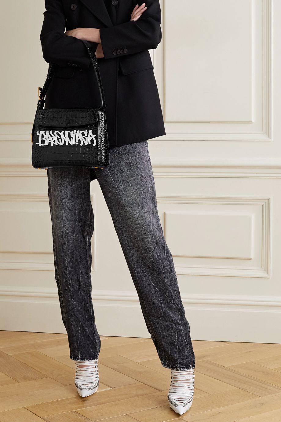 Balenciaga Ghost mittelgroße Schultertasche aus Leder mit Krokodileffekt und Print