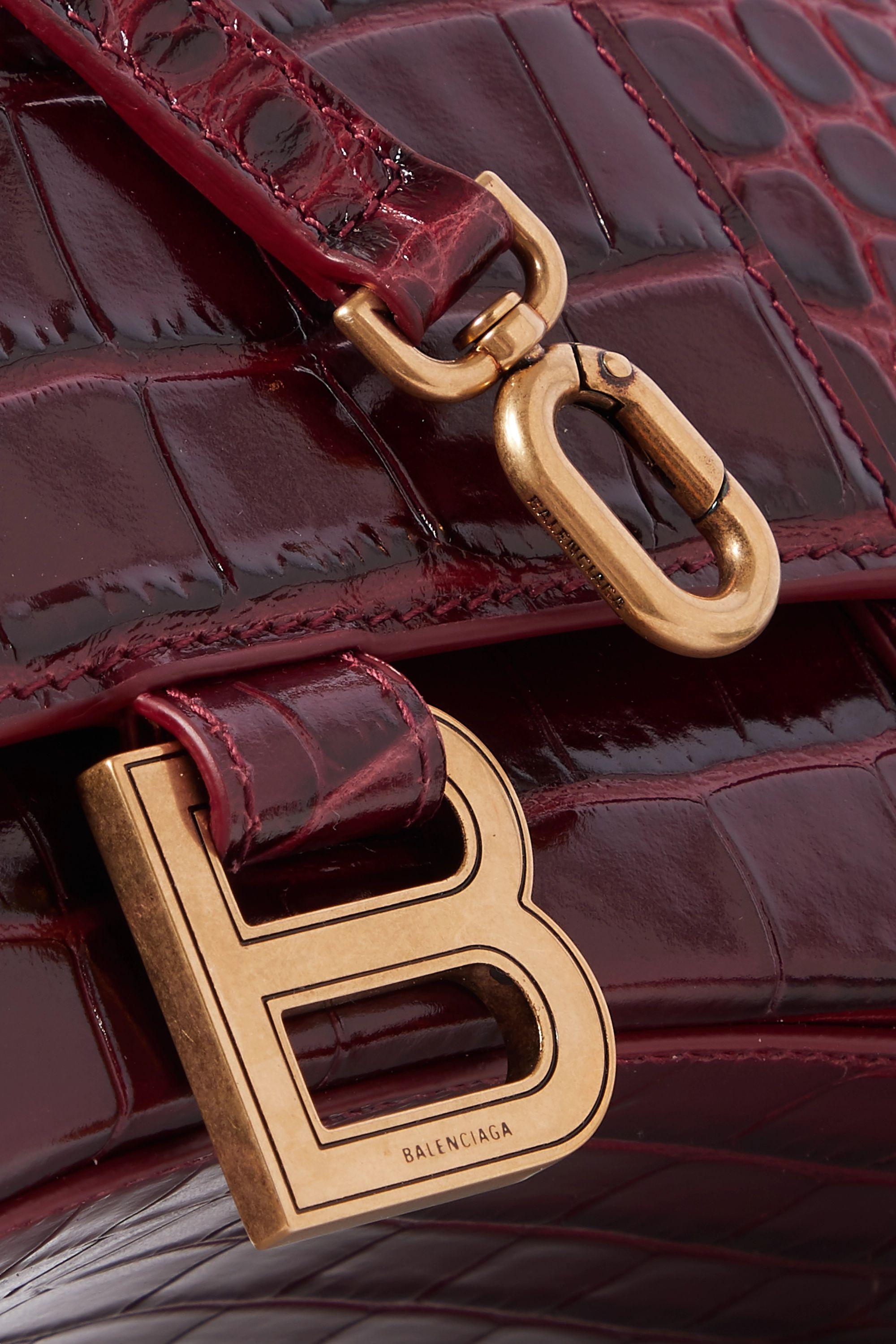 Burgundy Hourglass Croc-effect Leather Tote | Balenciaga