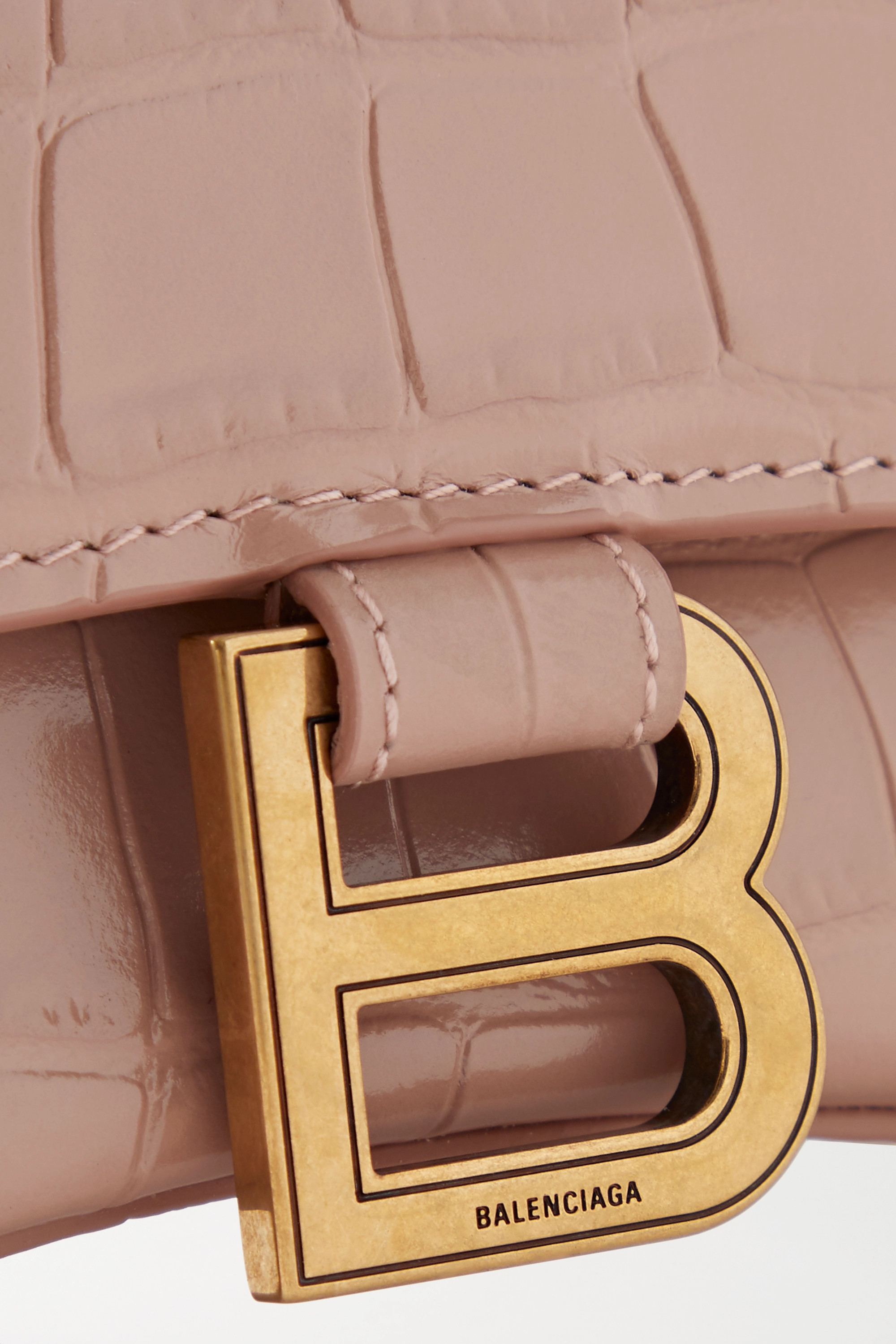 Balenciaga Hourglass small croc-effect leather tote