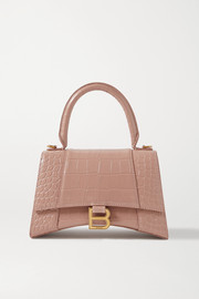 Balenciaga Hourglass small croc-effect leather tote