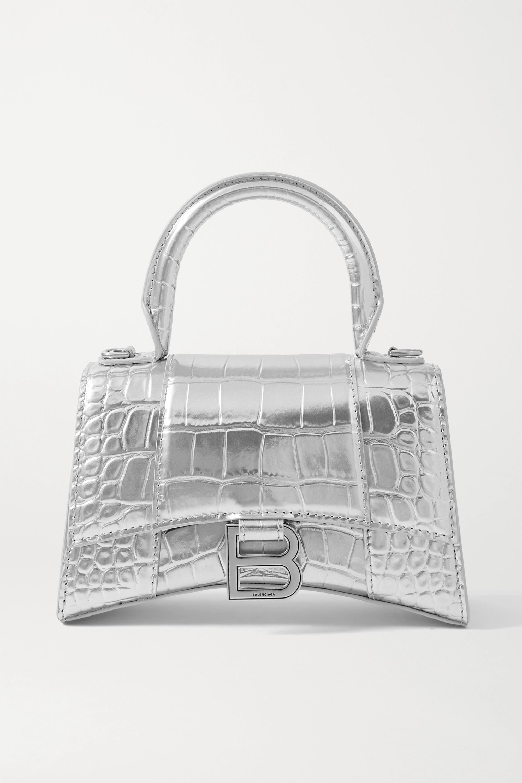 Balenciaga Hourglass XS metallic croc-effect leather tote
