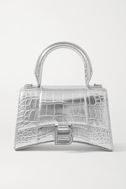 Balenciaga Hourglass XS metallic croc-effect leather tote
