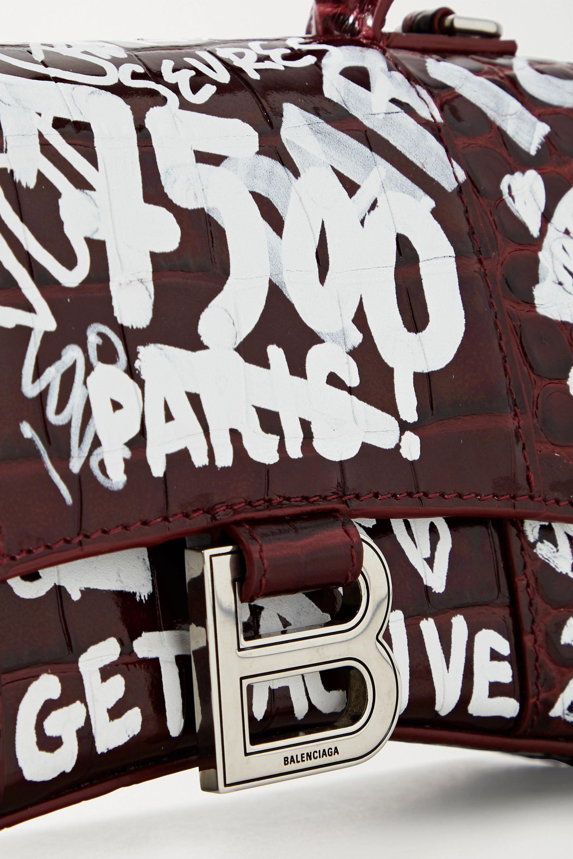 Balenciaga Hourglass XS printed croc-effect leather tote