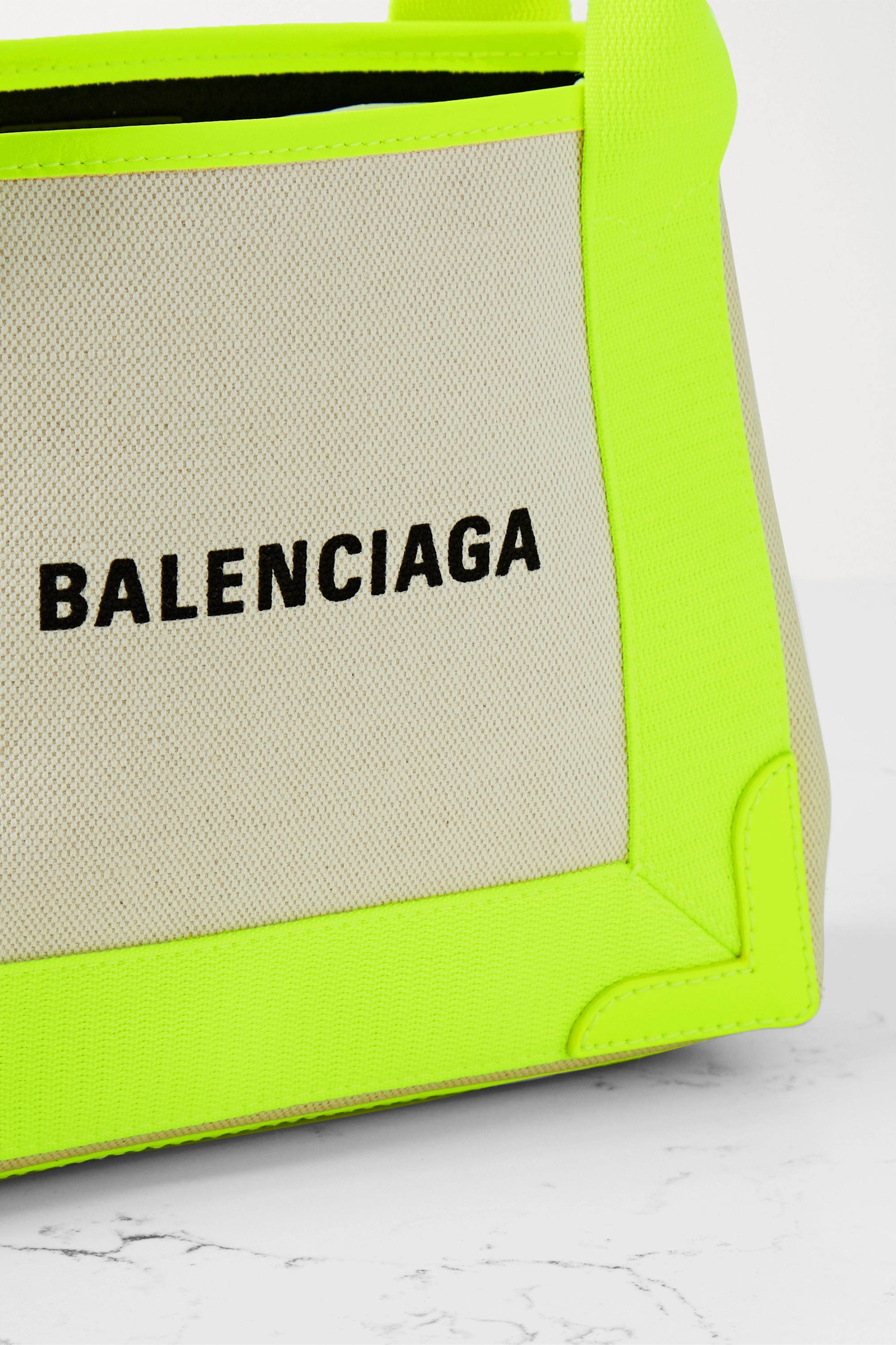 Balenciaga Navy XS Cabas neon leather-trimmed printed canvas tote