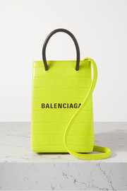 Balenciaga Shop croc-effect leather shoulder bag