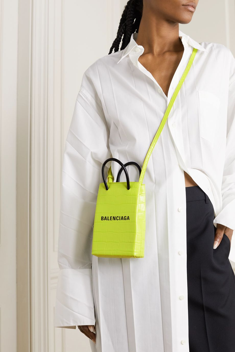 Balenciaga Sac porté épaule en cuir effet croco Shop