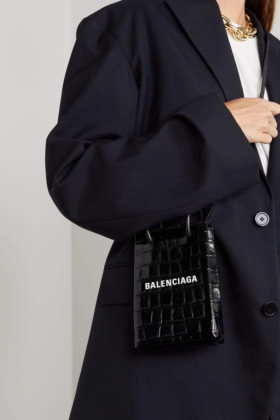 Balenciaga Printed croc-effect glossed-leather shoulder bag