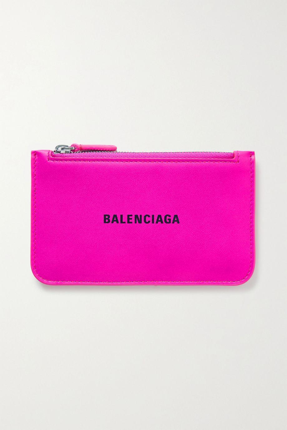Balenciaga Portefeuille en cuir texturé fluo imprimé Cash