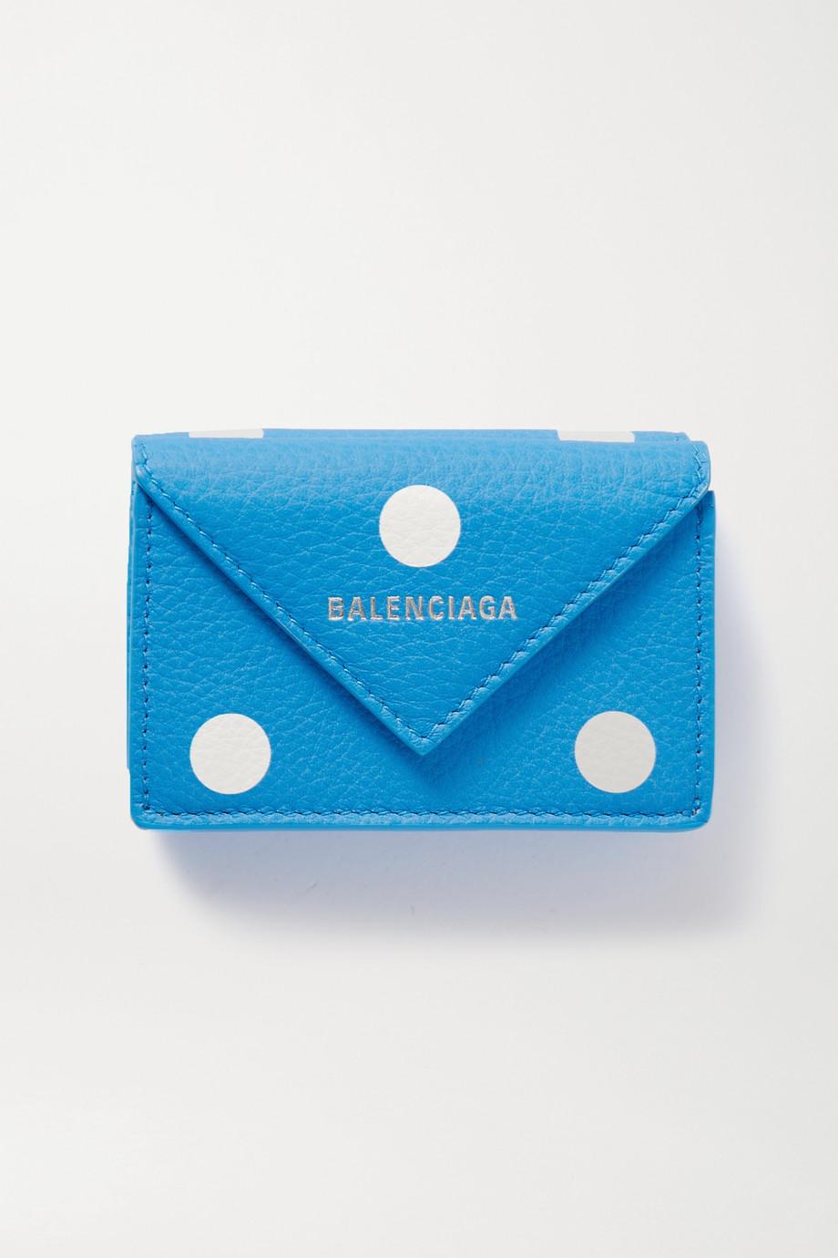 Balenciaga Papier mini printed polka-dot textured-leather wallet