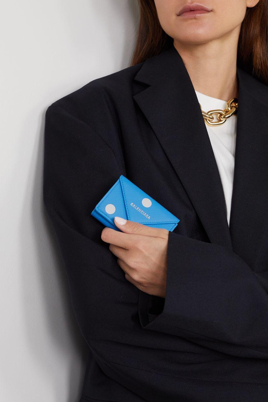 Balenciaga Papier mini bedrucktes Portemonnaie aus strukturiertem Leder mit Polka-Dots