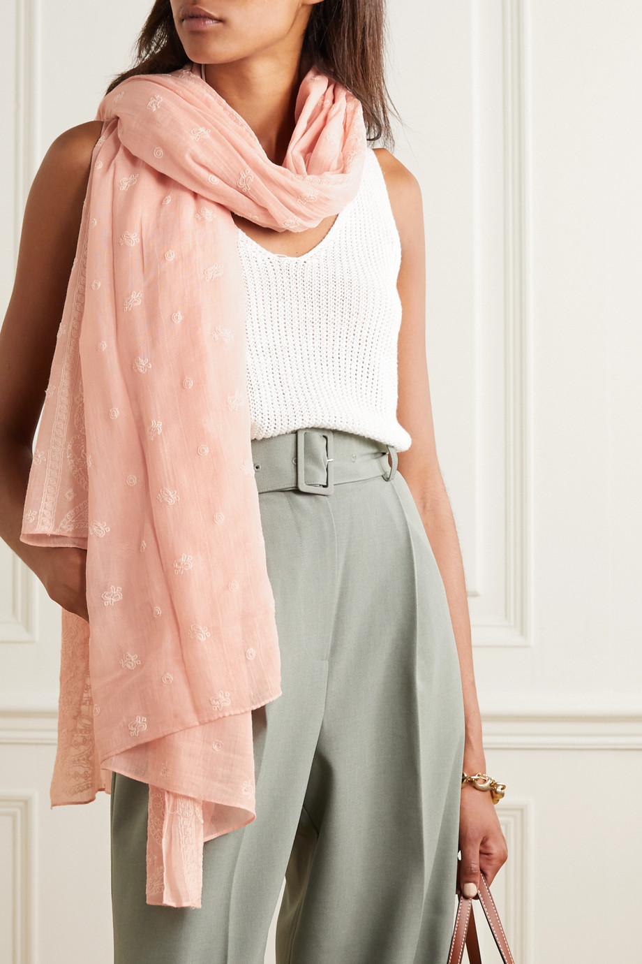 rag & bone Embroidered cotton-voile scarf
