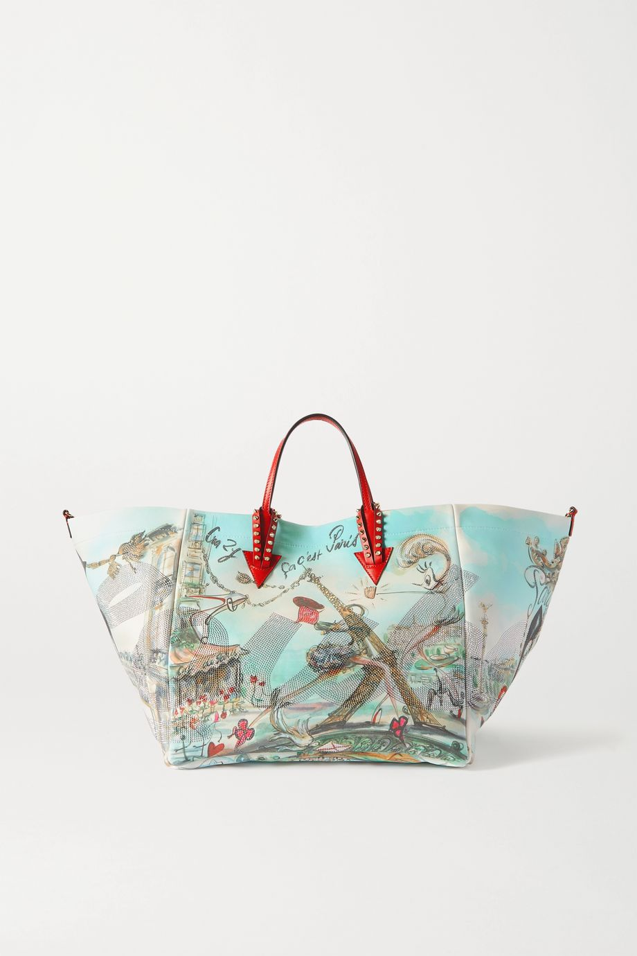 Christian Louboutin Cabaraparis large embellished leather-trimmed printed canvas tote