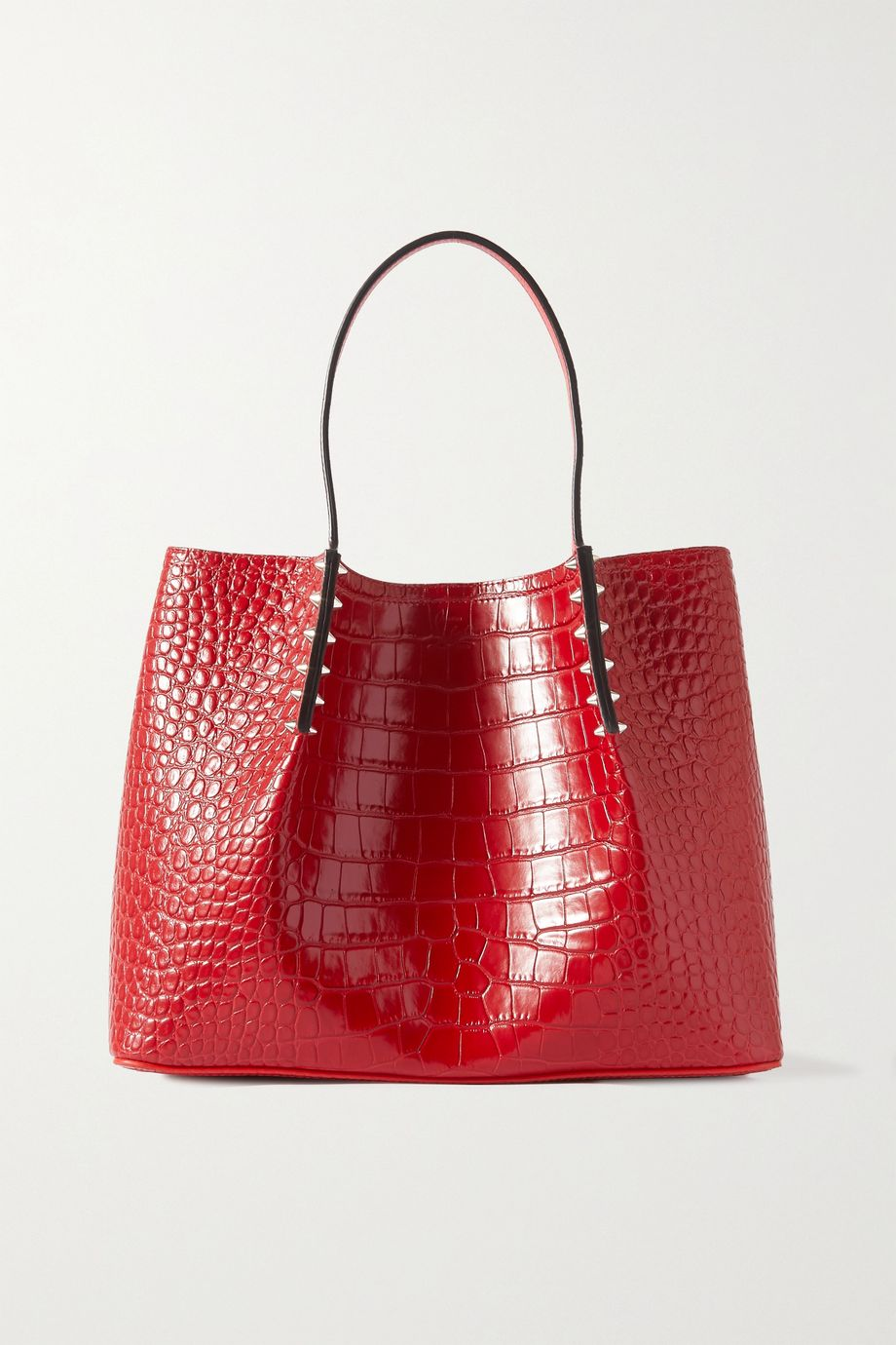 Christian Louboutin Cabarock small spiked croc-effect leather tote