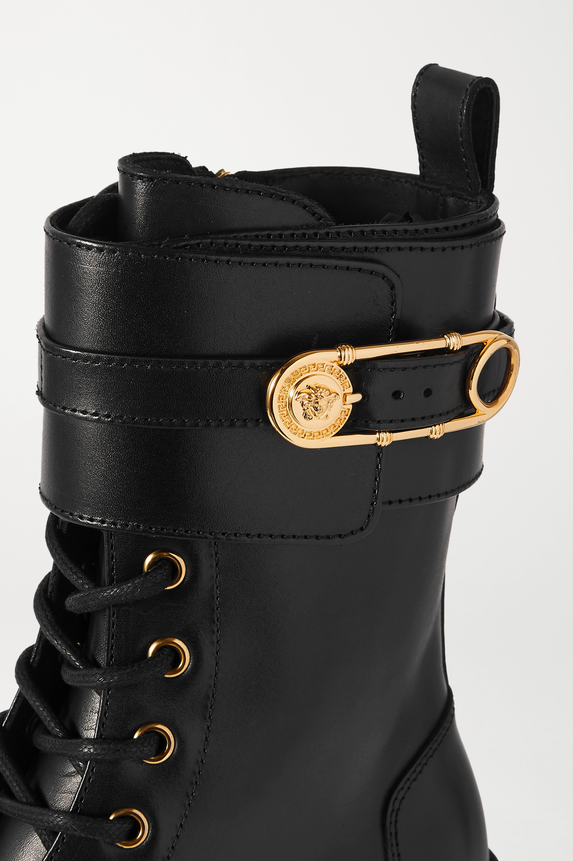 Versace Embellished leather ankle boots