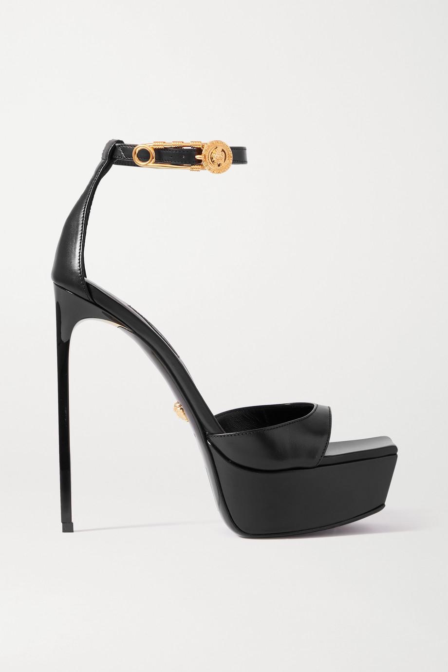 Versace Embellished leather platform sandals