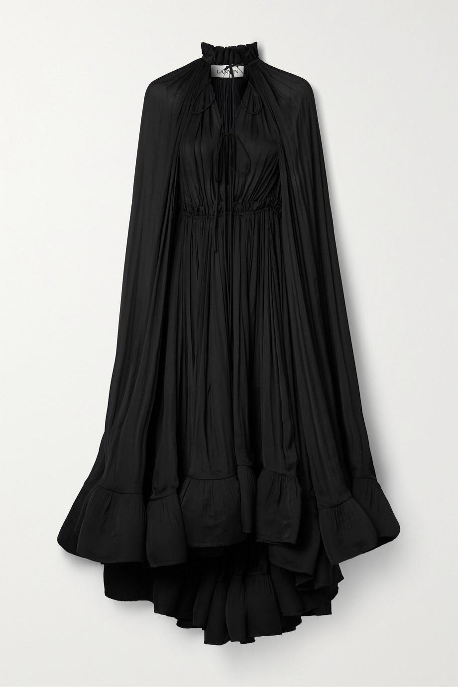 Lanvin Kleid aus Crêpe mit Rüschen und Cape-Effekt zum Binden