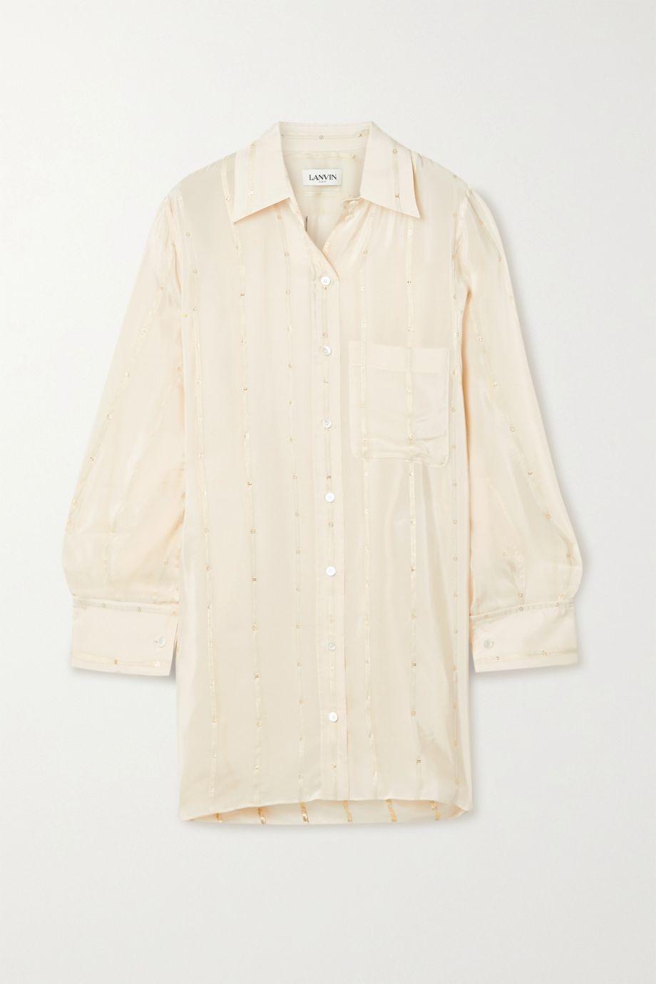 Lanvin Asymmetrisches Oversized-Hemd aus Crêpe de Chine mit Fil Coupé