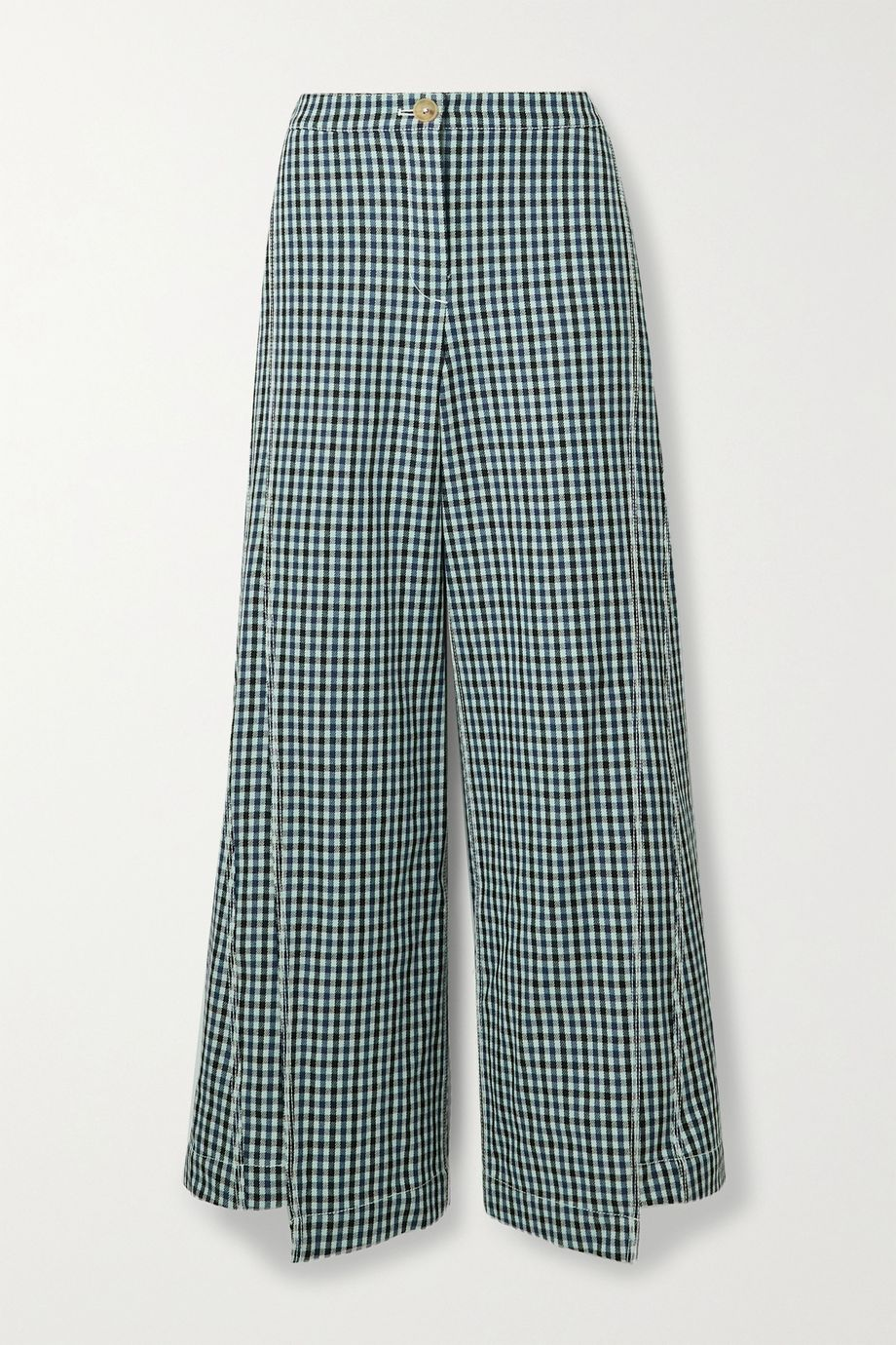 Lanvin Pantalon large en tweed de laine à carreaux