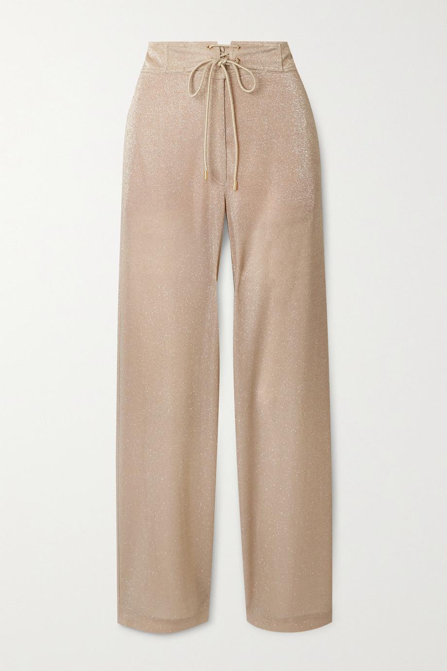 Lanvin Lace-up Lurex wide-leg pants