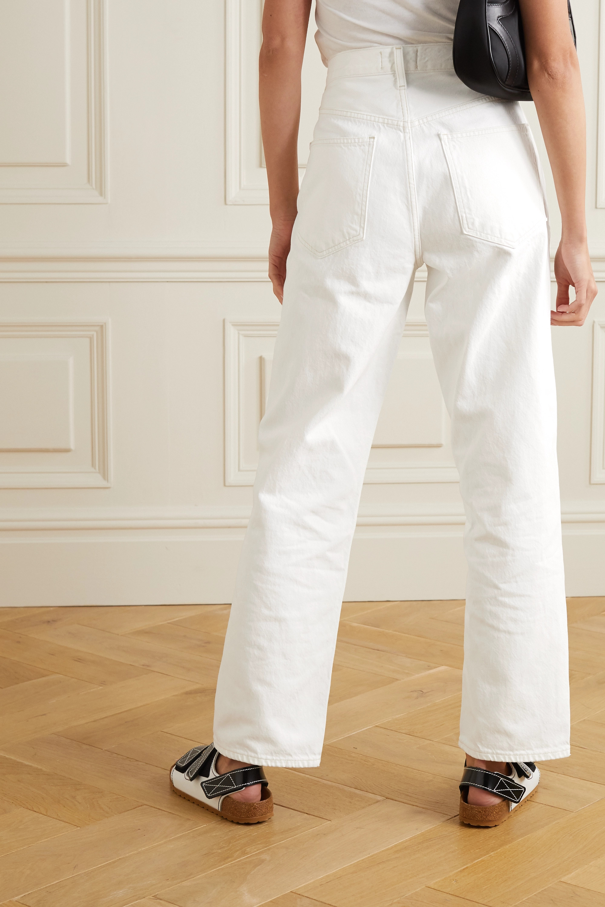 AGOLDE Criss Cross distressed mid-rise straight-leg jeans