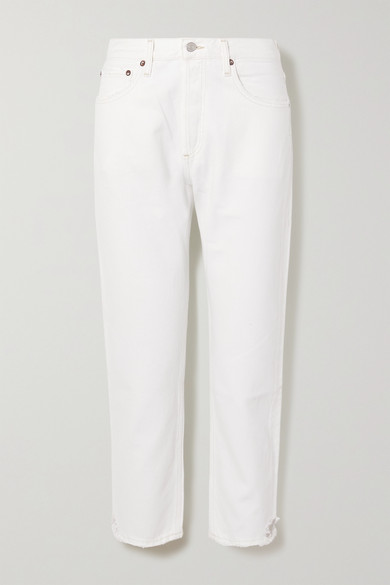 AGOLDE - Parker Distressed High-rise Straight-leg Jeans - White