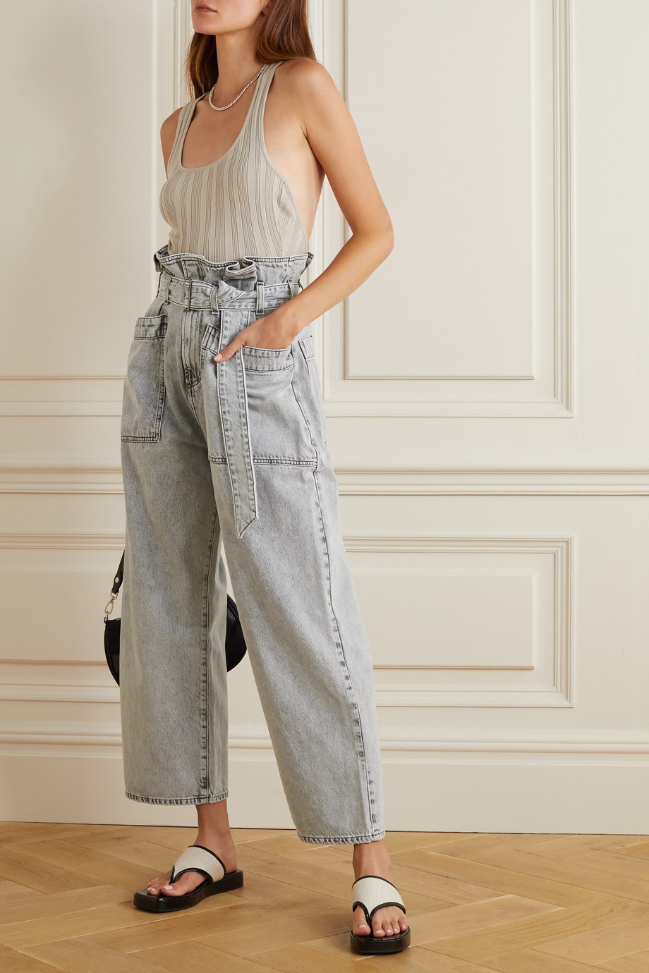 AGOLDE Aden belted high-rise wide-leg jeans